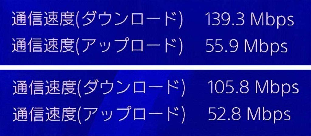 PS4をIEEE802.11acでスピードテスト