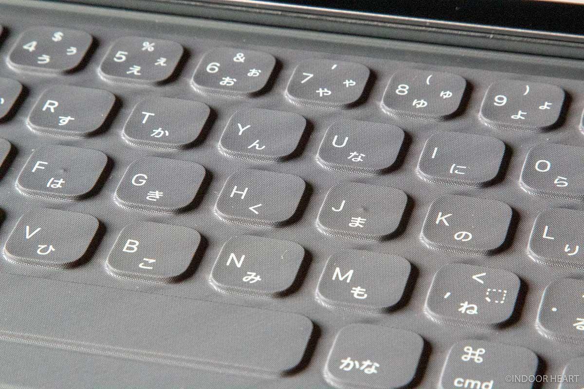 スマートキーボードのキーボード部分のアップ