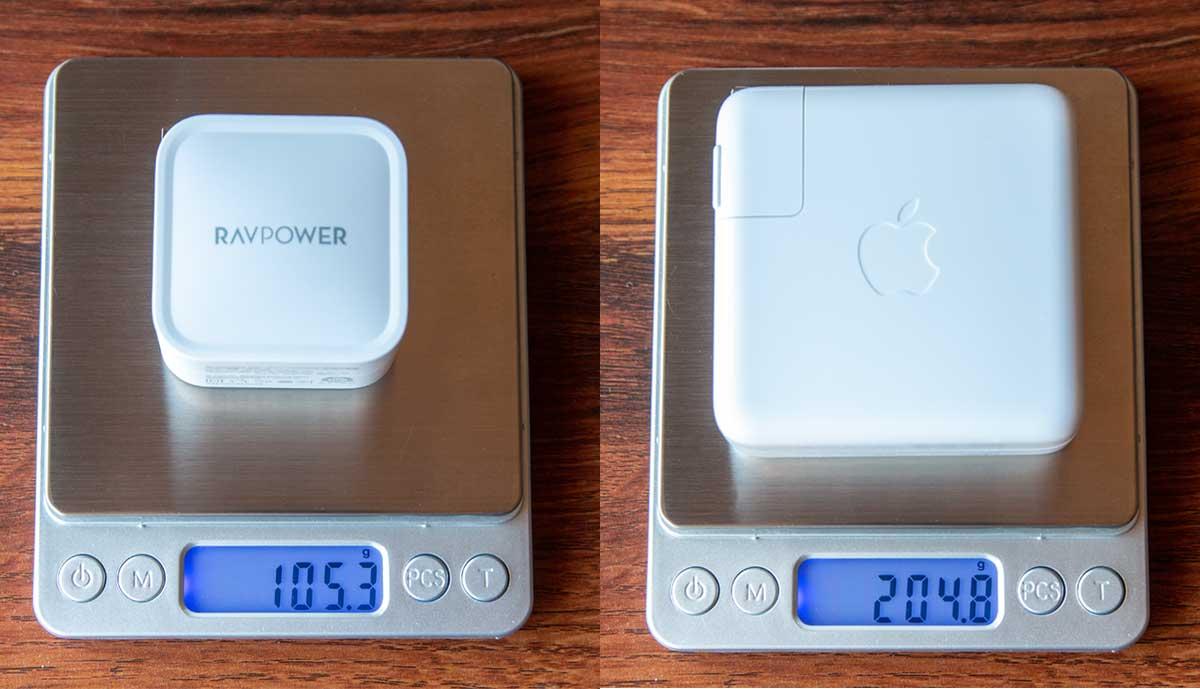61W充電器の重さの違い