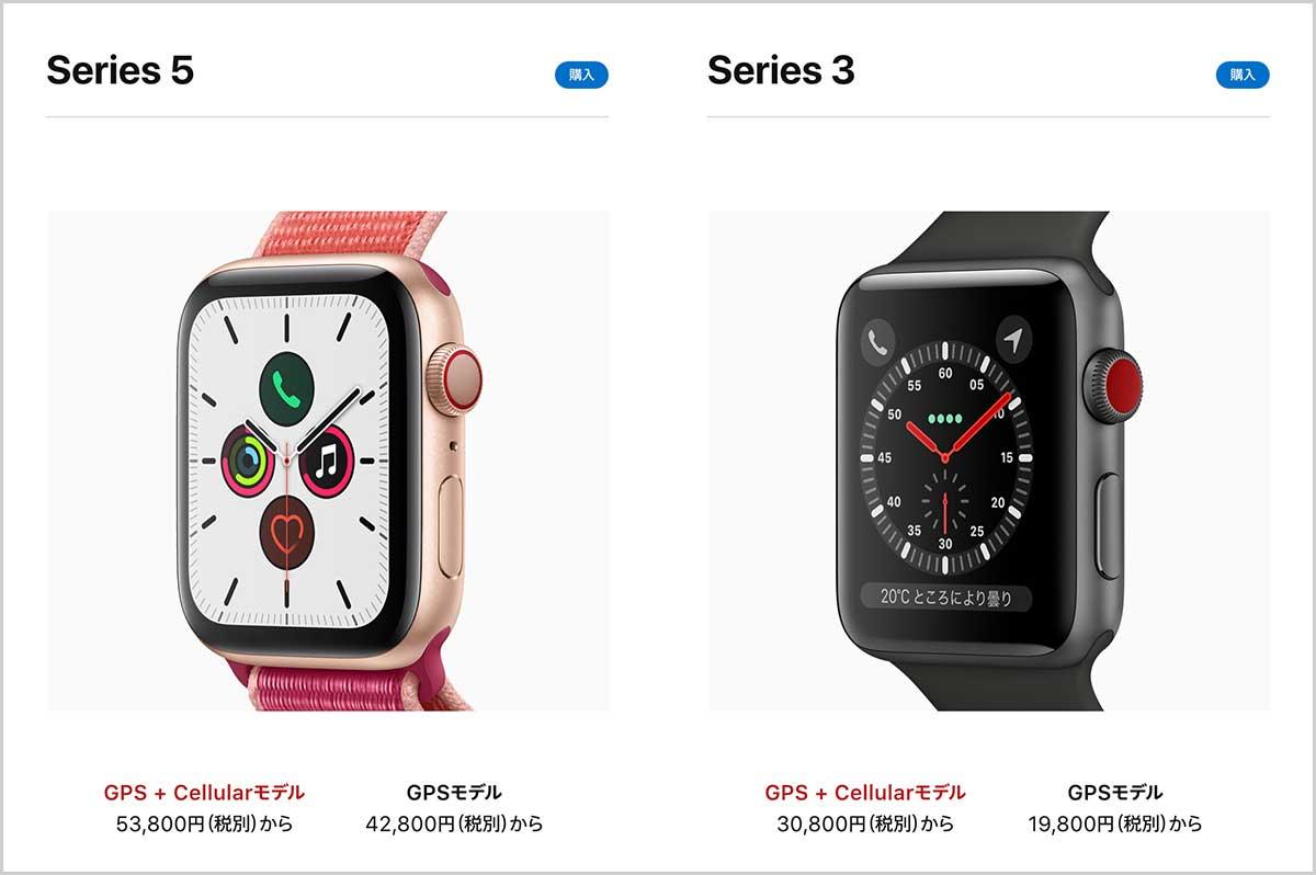 Apple Watch Series3と5の表示領域の違い