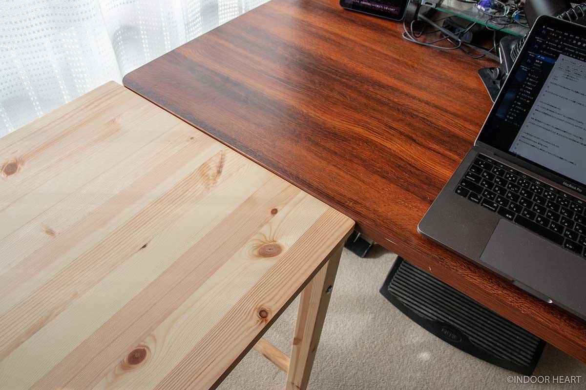 無印良品のパイン材テーブルの色味比較