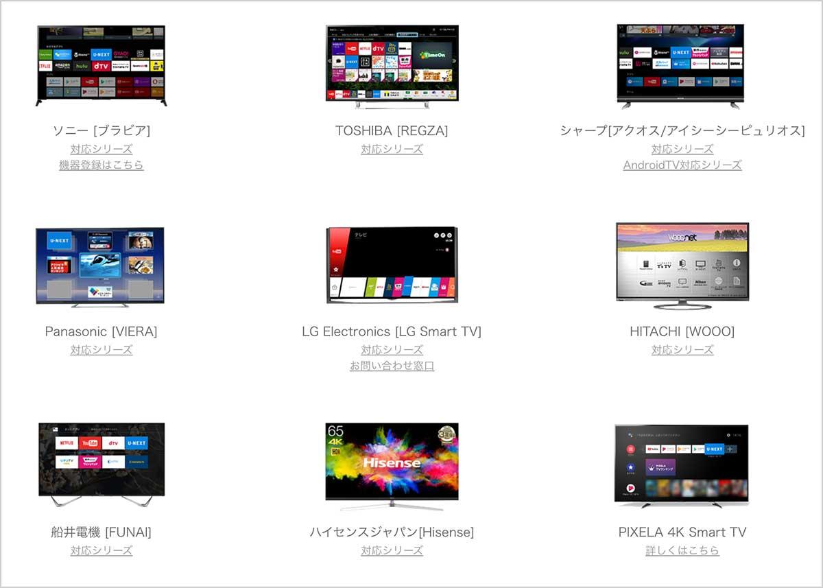 U-NEXT対応のAndroidTV