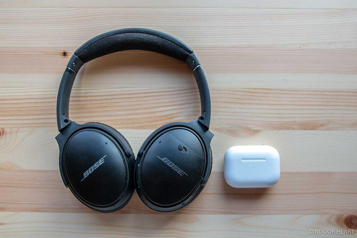 AirPods ProとBOSEヘッドホンのサイズ感