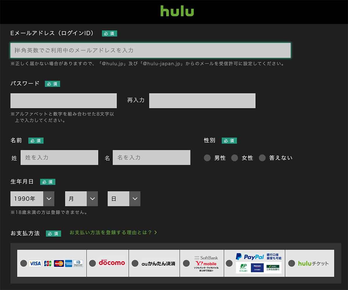 Huluの無料トライアル入力項目