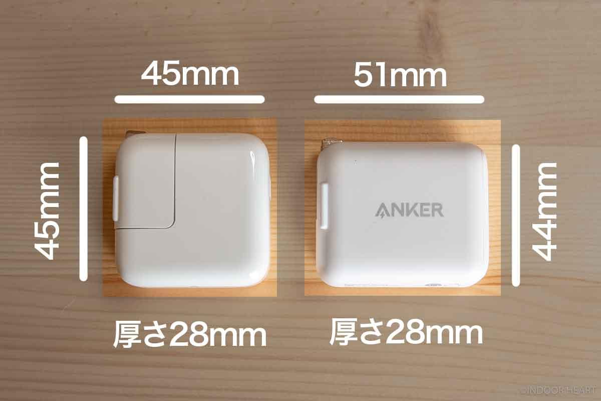 Apple12W充電器とAnker PowerPort III miniのサイズ比較