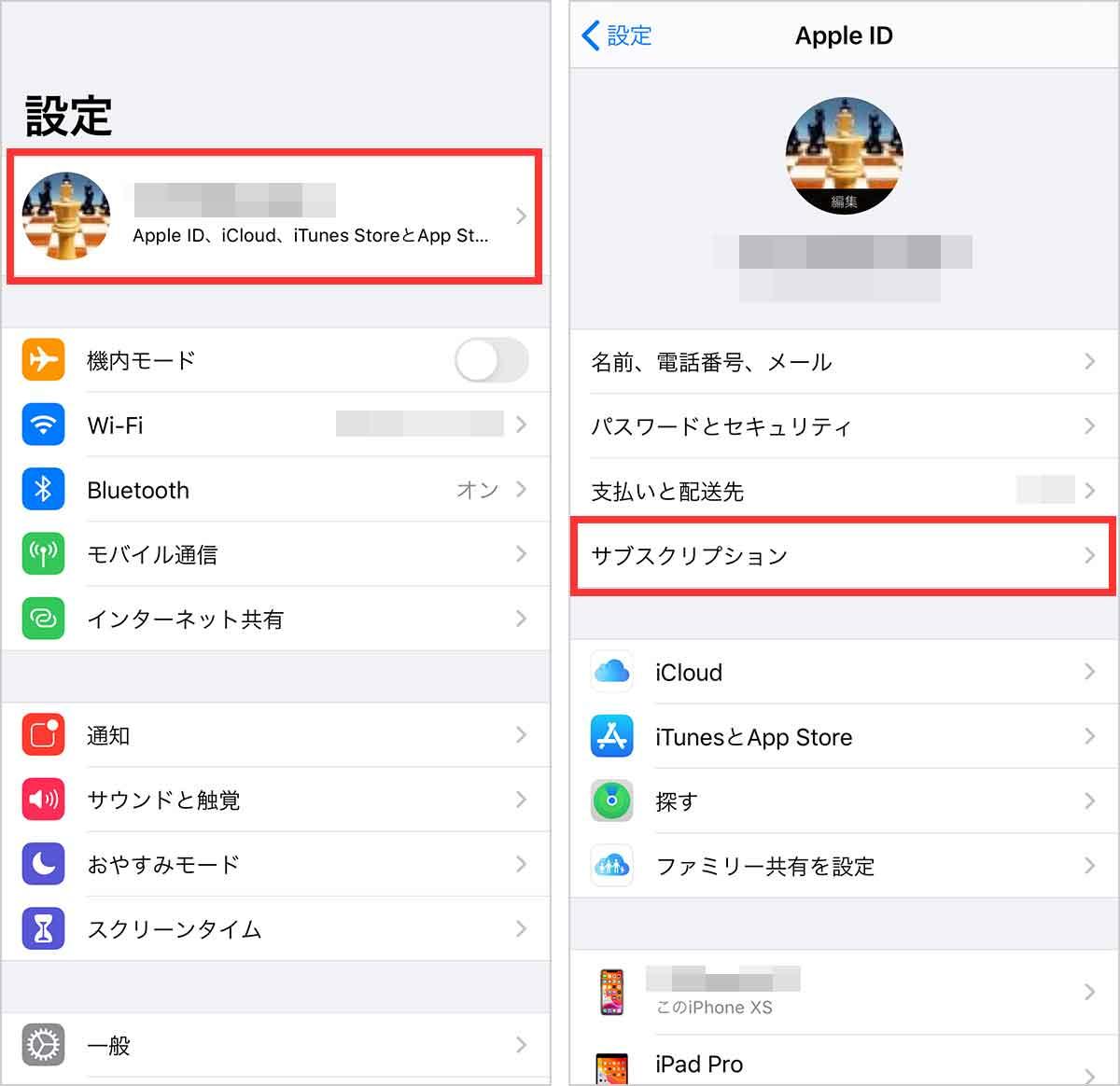 iPhone設定アプリからサブスクリプションを確認
